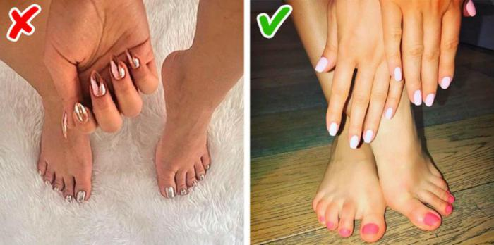 Pedicure and manicure should be the same color