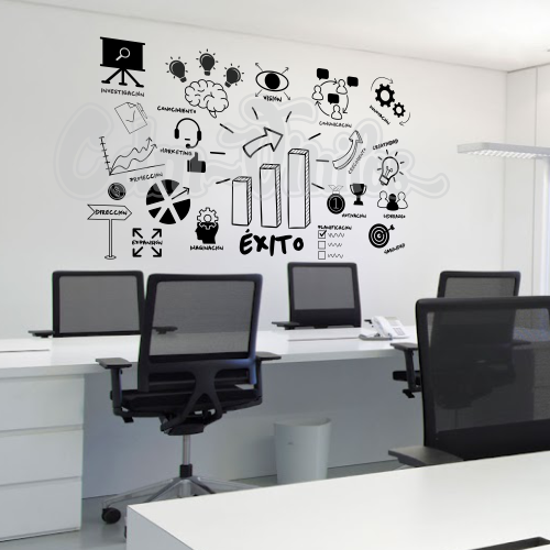 vinilos decorativos pared oficinas empresa startup workplace diagrama flujo exito