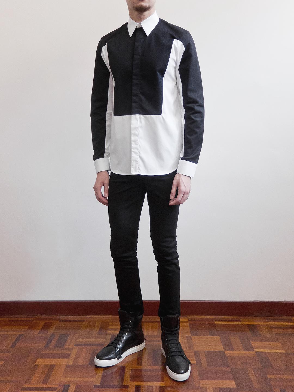 Top Givenchy White & Black Trompe Loeil Contrast Shirt – Second Kulture UU83