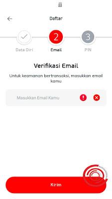 Lalu masukan email kalian untuk lebih aman saat bertransaksi di LinkAja