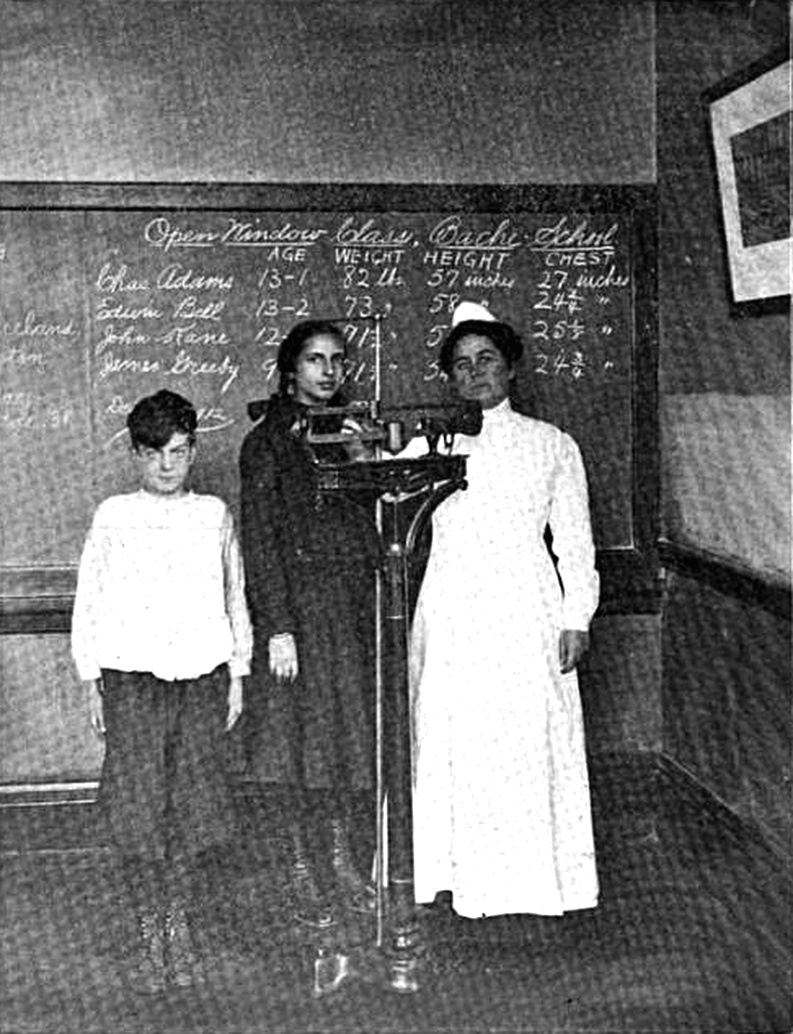 School Nurse Weighing and Measuring Pupils