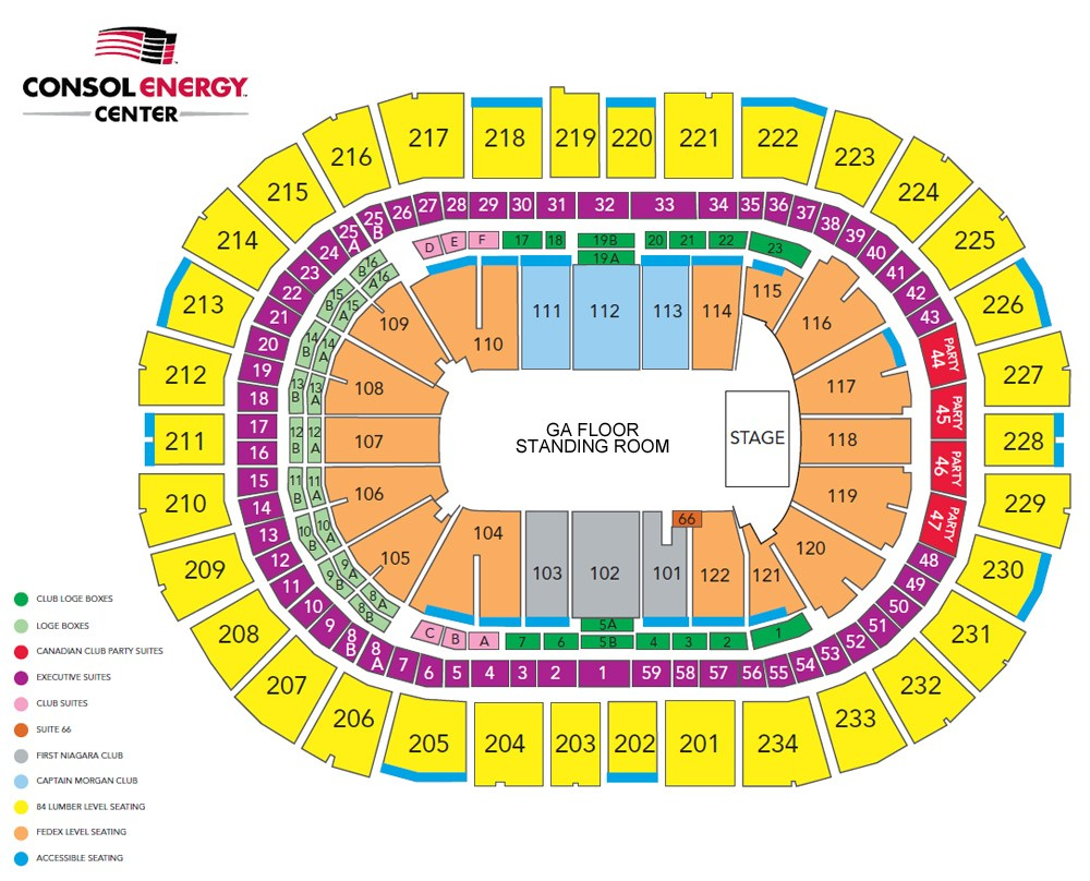 Consol Energy Center Seating Chart Row Seat Numbers Tickpick
