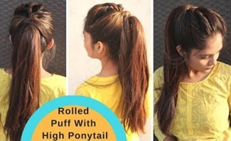 Messy Rolled Puff With High Ponytail Hairstyle |Ponytail With Puff