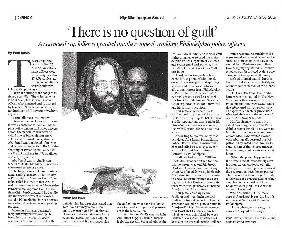 Paul Davis On Crime: My Washington Times Piece On Cop Killer Mumia
