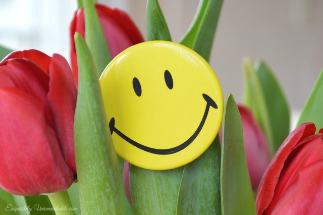 Tulips With Smiling Face Front Door Decor