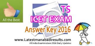 Telangana TS ICET Key 2016, TS ICET Preliminary Key 2016,Manabadi TS ICET Key 2016,