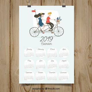 Bonito calendario 2019 en diseño plano