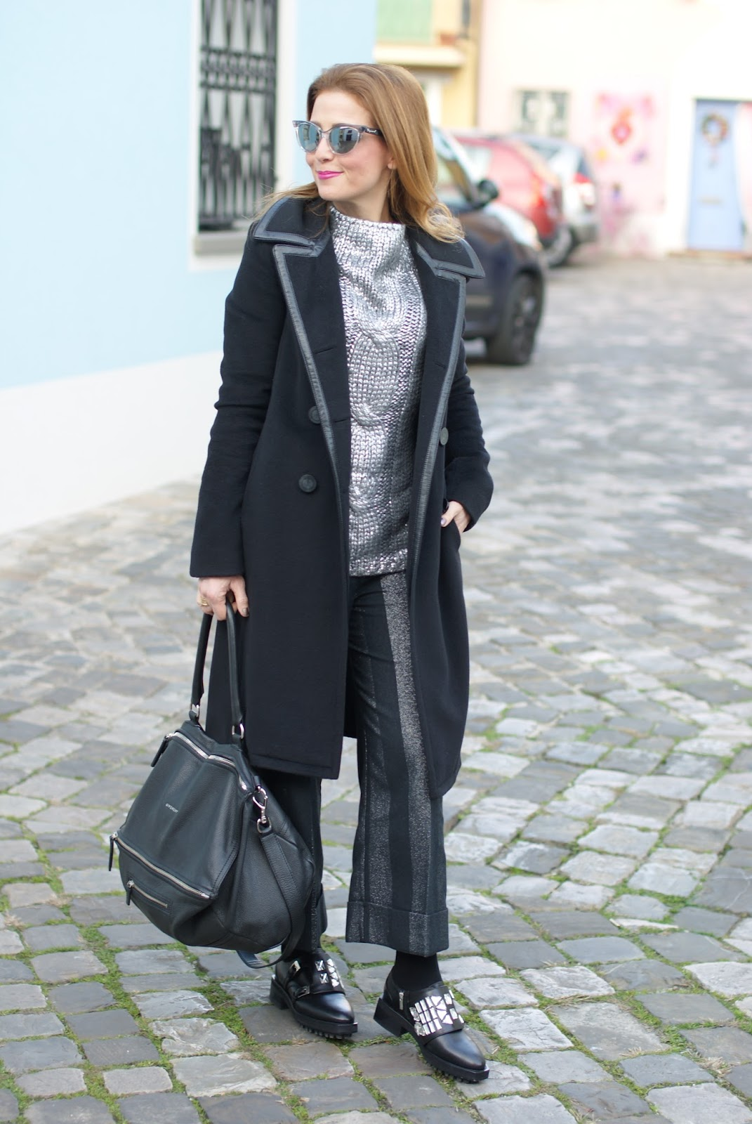 Balenciaga black coat with leather trim and Givenchy Pandora bag on Fashion and Cookies fashion blog, fashion blogger style