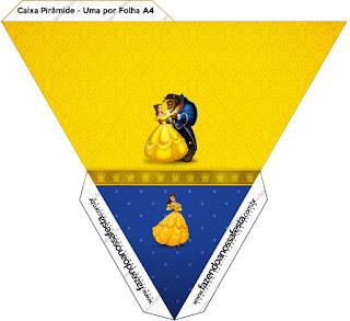 Caja con forma de pirámide de Fiesta de La Bella y la Bestia.