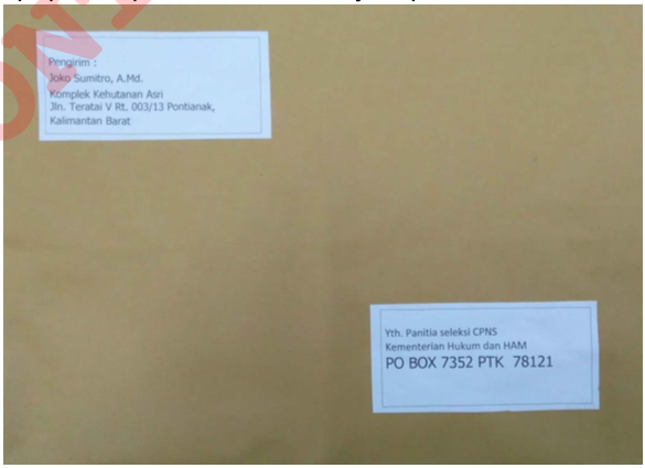 Amplop Surat Lamaran Cpns  2018