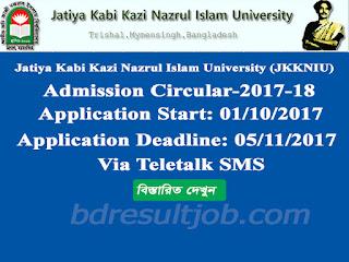 Jatiya Kabi Kazi Nazrul Islam University (JKKNIU), Mymensingh Admission Circular 2017-18