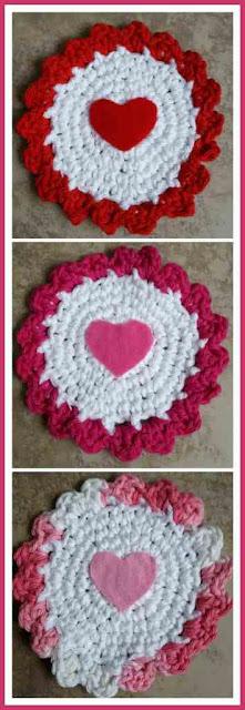 valentines crochet coasters