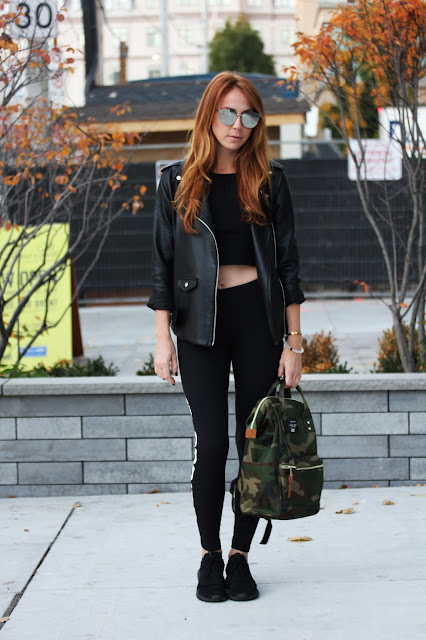 adidas leggings and sneakers, leather jacket, anello bag