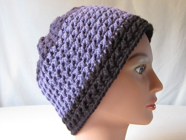 crochet, free pattern, hat, slouchy, Caron Cakes, double crochet cross stitch, Faerie's Enchantment Hat