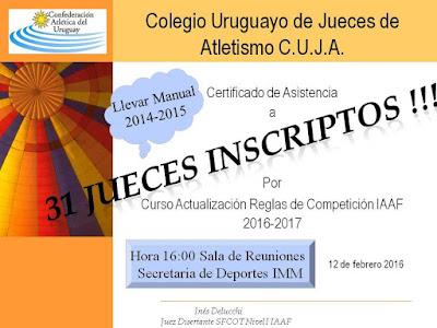 Curso de actualización de reglas IAAF para jueces de atletismo de Uruguay (12/feb/2016)