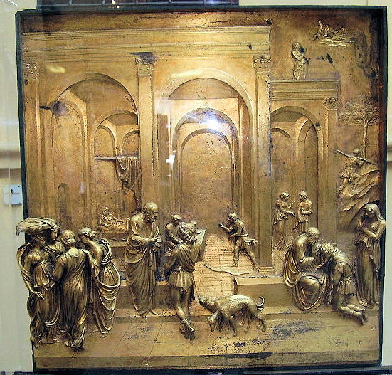 Close-up view of the original 'Esau and Jacob' panel of the Ghiberti's 'Gates of Paradise.'