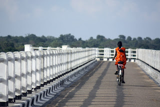 After mother's reprimand school girl had peddled 50 km on her push cycle