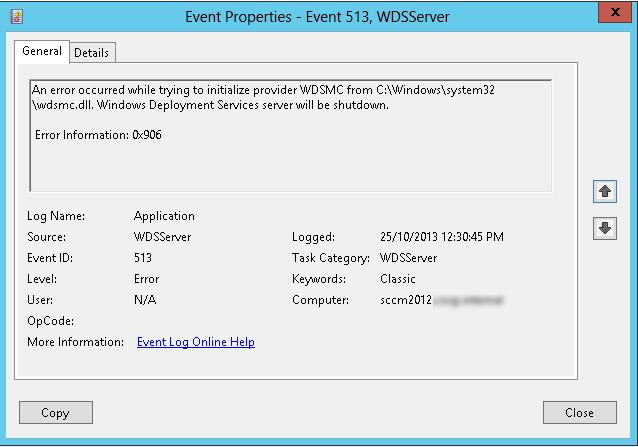 Clint Boessen's Blog: Error Starting WDS Service on SCCM