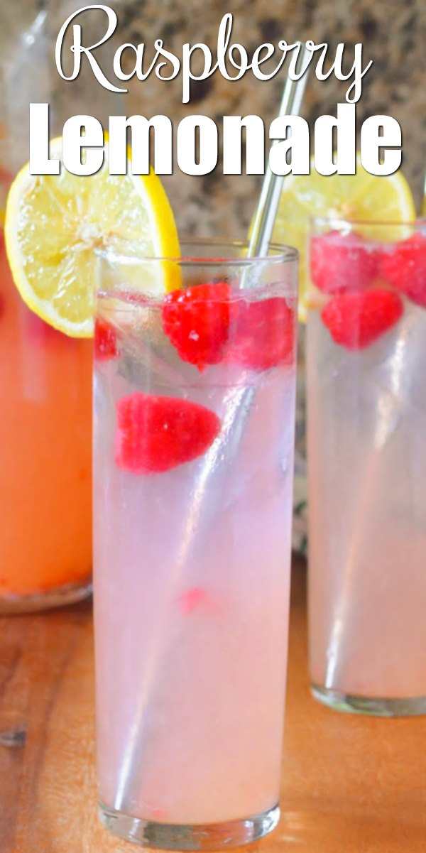 Raspberry Lemonade recipe is a light refreshing drink with a Raspberry Lemonade Cocktail option. Great for summertime entertaining from Serena Bakes Simply From Scratch.