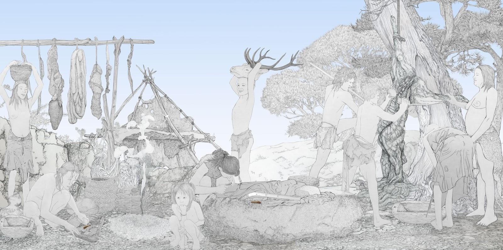 aprovechamiento de la caza, mujeres prehistoria, dibujo