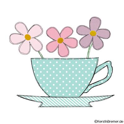 Tasse mit Blumen Doodle Stickdatei
