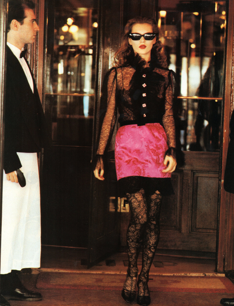 Kate Moss wearing Yves Saint Laurent in Vogue Italia September 1993 (photography: Arthur Elgort, styling: Anna Dello Russo) via www.fashionedbylove.co.uk