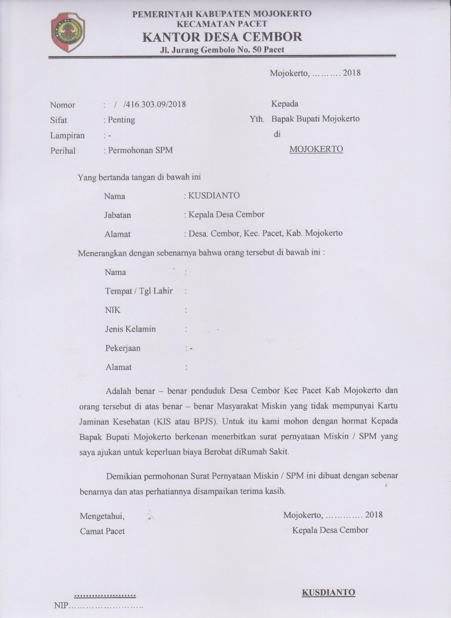 Surat Keterangan Tidak Mampu Sktm Desa Wisata Cembor Pacet
