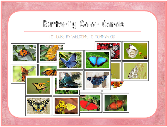 Spring Activities: Butterfly themed color sorting cards by Welcome to Mommyhood #montessori, #preschool, #preschoolactivities, #homeschool, #springactivities, #kidsactivities, #printables, #totlabs