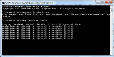 command prompt  showing facebook down