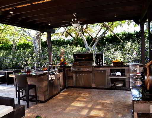 24+ desain dapur terbuka semi outdoor menghadap taman