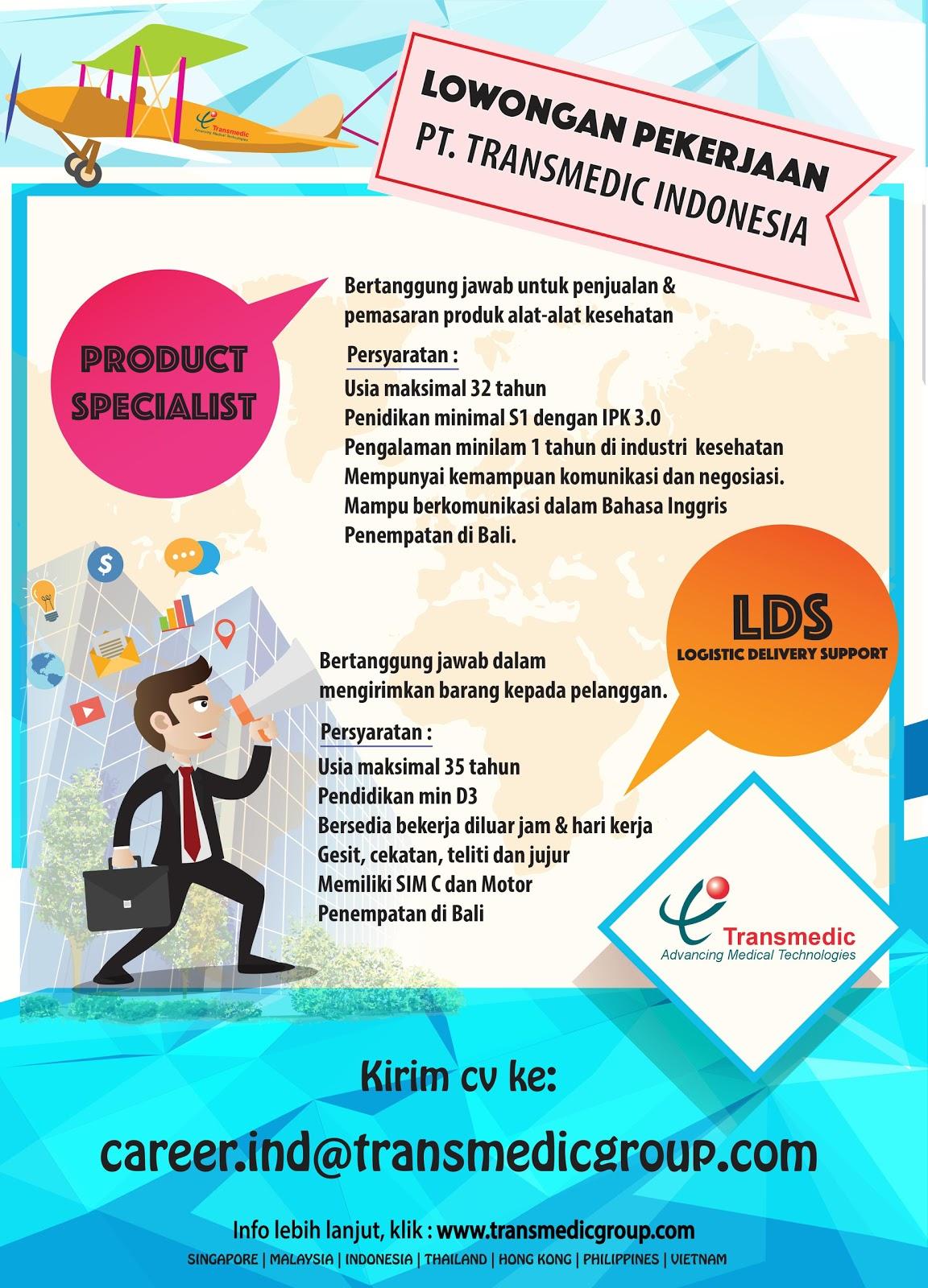 Lowongan Kerja Product Specialist Transmedic Indonesia