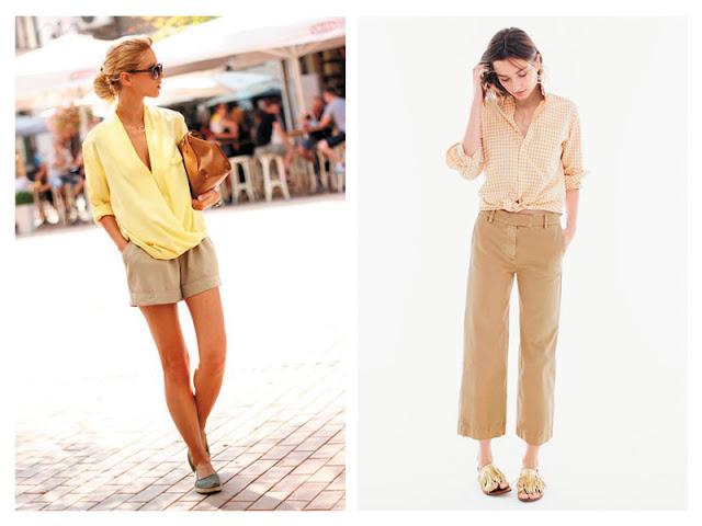 Шорты цвета хаки с желтой пастельной блузкой, брюки цвета хаки с желтой рубашкой в клетку