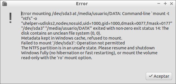 Error mounting