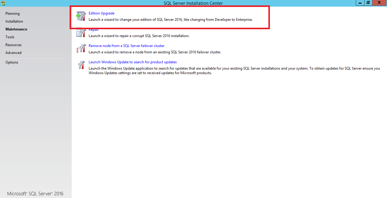 Upgrade SQL Server Evaluation edition to license Edition of