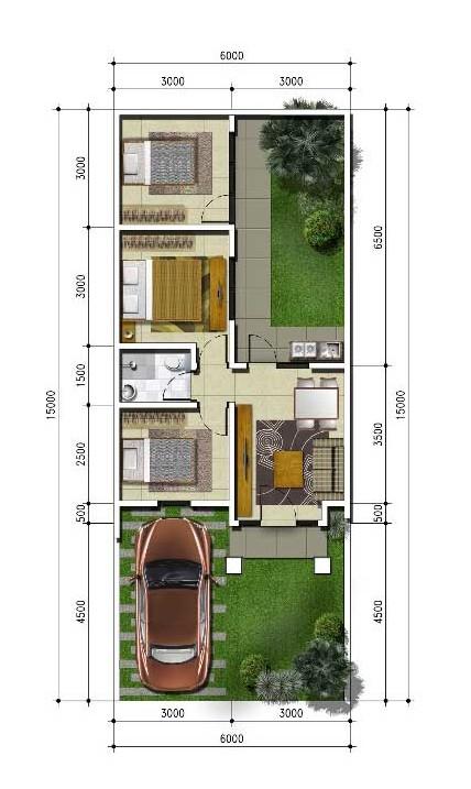 Denah rumah minimalis ukuran 6x15 meter 3 kamar tidur 1 lantai
