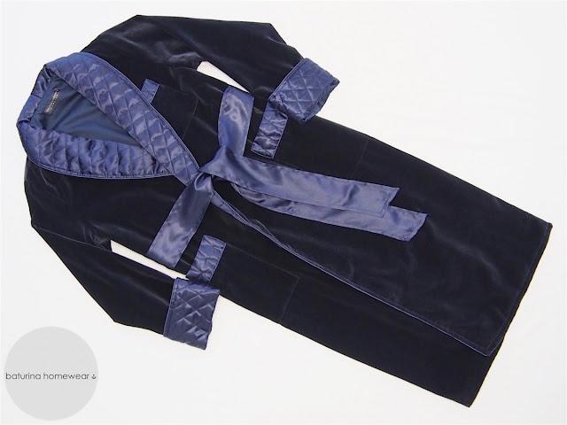 Men's dark navy blue warm velvet dressing gown with quilted silk collar in long floor length