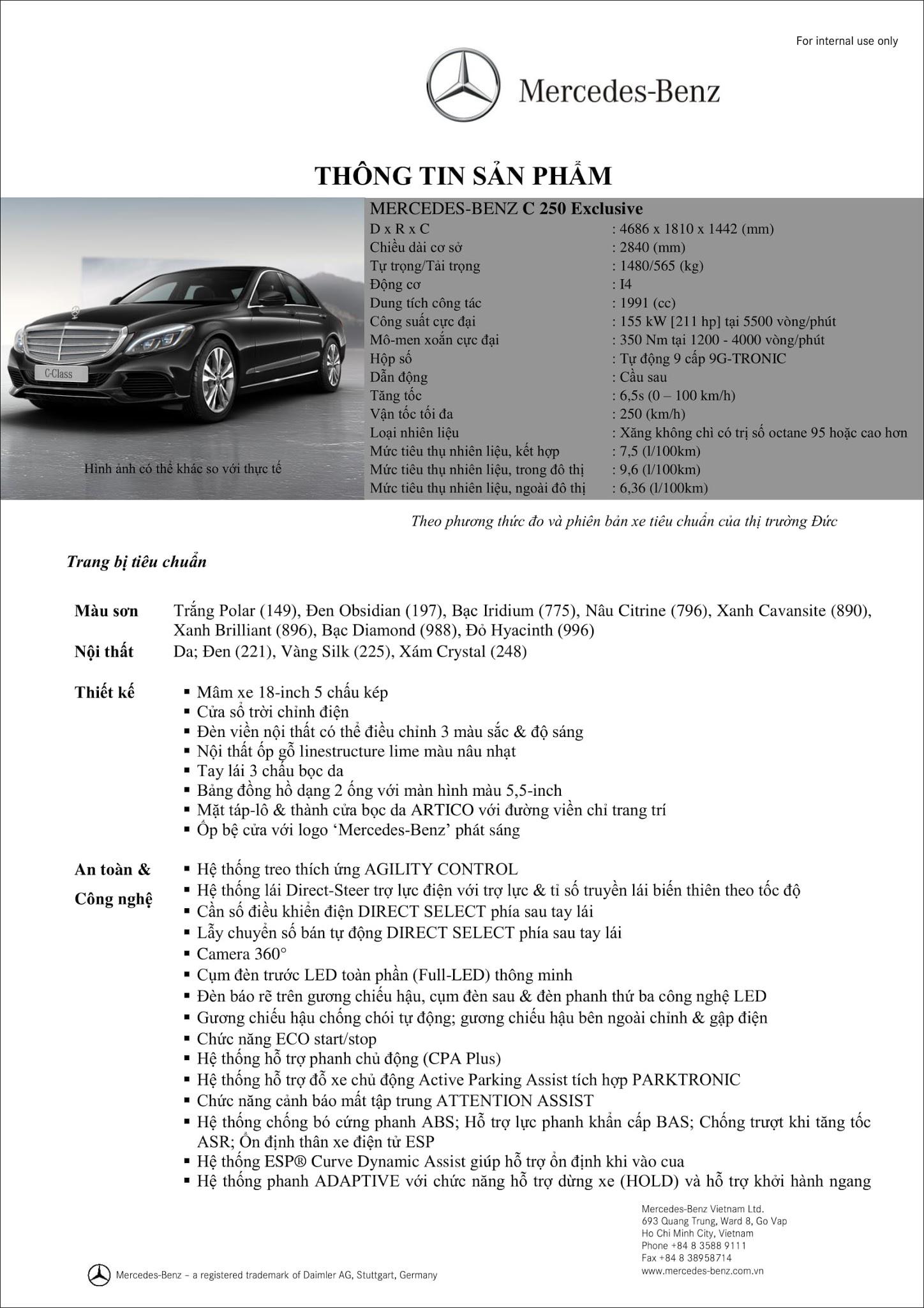 Bảng thông số kỹ thuật Mercedes C250 Exclusive 2017 tại Mercedes Trường Chinh