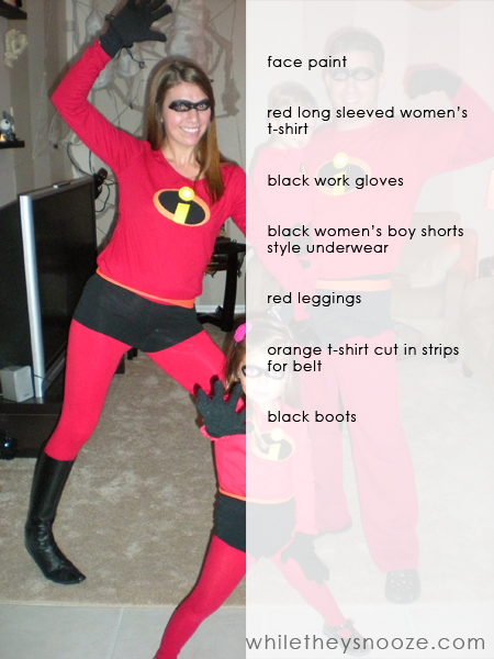 I had trouble finding red leggings in womenu0027s sizes so these are actually a girlu0027s 14-16 ) Good thing they are super stretchy! & While They Snooze: How to Make The Incredibles Halloween Costumes + ...