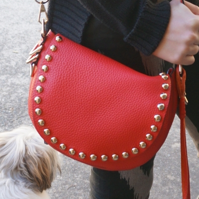 Cherry red Rebecca Minkoff studded unlined saddle bag | Away From The Blue Blog