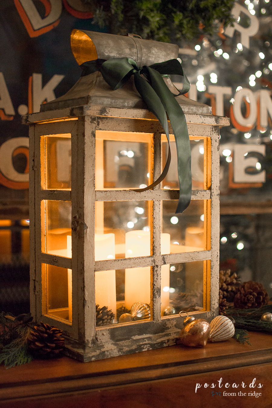 wood lantern with led candles