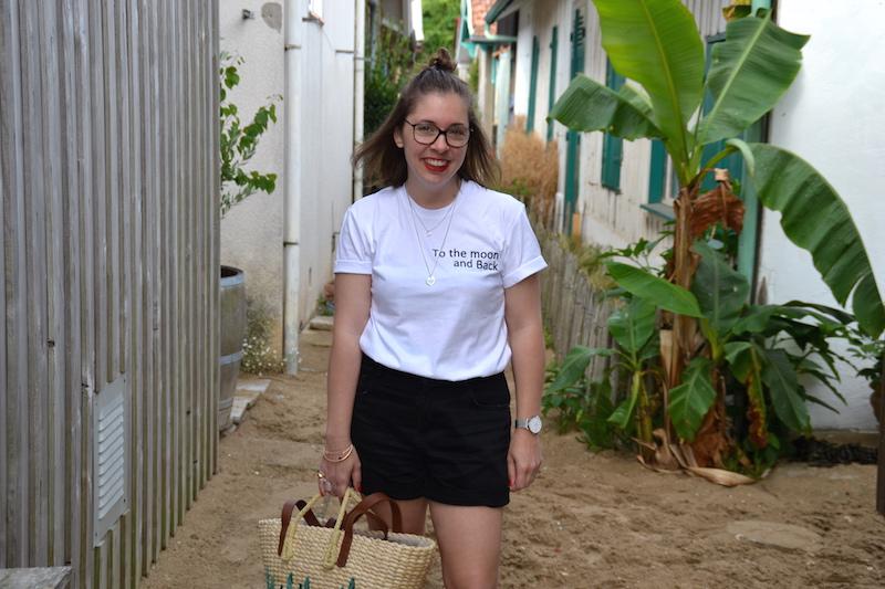 short en jean noir Pimkie et t-shirt Tunetoo, panier cactus Mango