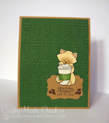 Kitty coffee cup to-go birthday card by Crafty Math Chick | Newton Loves Coffee by Newton's Nook Designs