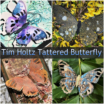 Tim Holtz Sizzix Tattered Butterfly Distress Oxide Sprays Alcohol Pearls Tutorial by Sara Emily Barker https://frillyandfunkie.blogspot.com/2019/03/saturday-showcase-tim-holtz-tattered.html 1