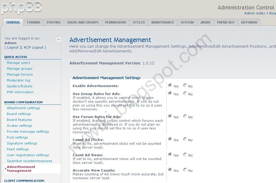 phpBB ad manager