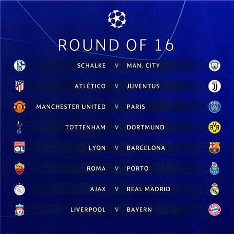 UEFA Champions League: Round of 16 Fixtures