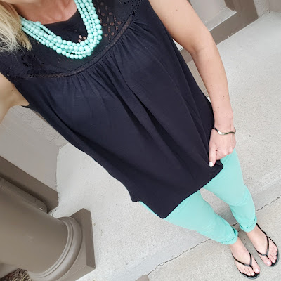 What I Wore: #TargetStyle + SUGARFIX! how to wear mint jeans, lace top, black and mint outfit