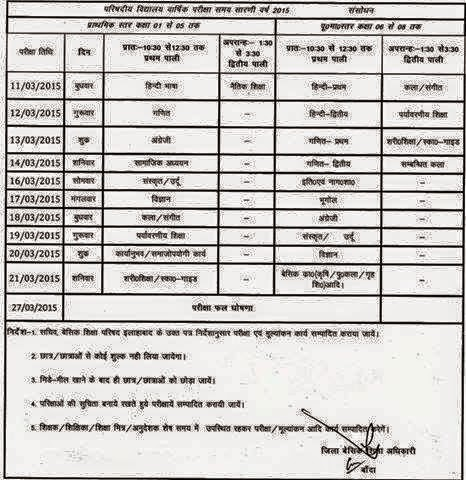 UP Primary School, UPS Exam Time Table Question Paper 2015