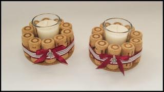 porta velas con corchos reciclados