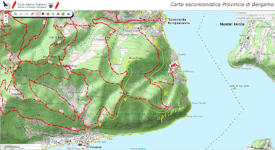 Example of the type of maps you can get and print out from the CAI Bergamo site