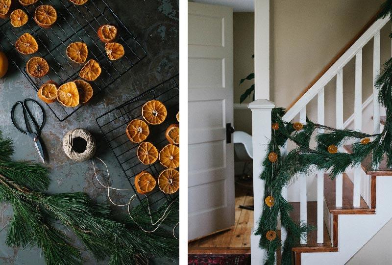 festone di pino decorato con le arancie